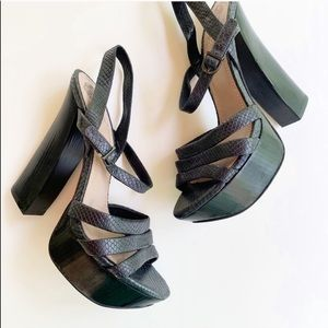 Vince Camuto Miner Black Leather Platform Heels